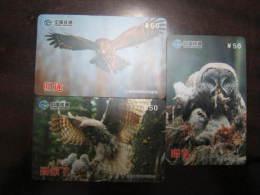 China Prepaid Phonecard, Owls, Set Of 3,real Phonecard Not Fake - Owls