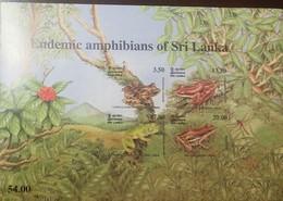 O) 2001 SRI LANKA, ENDEMIC FROGS - CONICAL WART-SHARP SNOUT SADDLE-ROUND SNOUT-WOOD FROG, MNH - Sri Lanka (Ceylon) (1948-...)