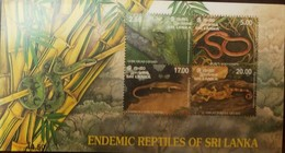 O) 1997 SRI LANKA, ENDEMIC REPTILES, LIRE LIZARD-BOIES ROUGHSIDE-COMMON LANKA-GREAT FOREST GECKO, SOUVENIR MNH - Sri Lanka (Ceylon) (1948-...)