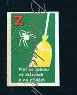 85-67 CZECHOSLOVAKIA 1964 Action Z Communist Era Nationwide Volunteer Work Down The Dirt - Broom Cobweb , Spider Web - Boites D'allumettes - Etiquettes