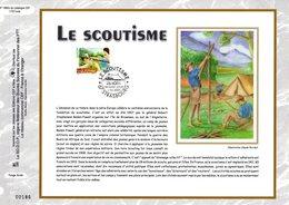 """"""" EUROPA 2007 : LE SCOUTISME """" Sur Feuillet CEF N°té En SOIE De 2007 N° 1885s N° YT 4049. Parfait état FDC - Storia Postale"""