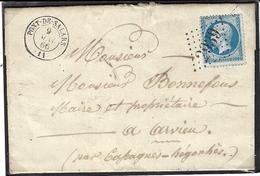 1866- Lettre De PONT-DE-SALARS ( Aveyron ) Cad T15  Affr. N°22 Oblit. G C 2639 - Poststempel (Briefe)