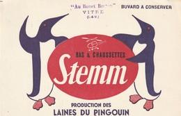 Rare Buvard Bas Et Chaussettes Stemm Production Des Laines Du Pingouin - Textile & Vestimentaire