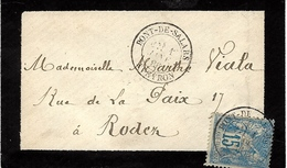 1886- Enveloppe De PONT-DE-SALARS ( Aveyron ) Affr. 15 C Sage Oblit. Cad T18 - Postmark Collection (Covers)
