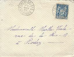 1893- Enveloppe De PONT-DE-SALARS ( Aveyron ) Affr. 15 C Sage Oblit. Cad A - Postmark Collection (Covers)