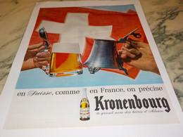 ANCIENNE PUBLICITE SUISSE  BIERE KRONENBOURG 1965 - Alcools