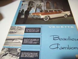 ANCIENNE   PUBLICITE VOITURE VEDETTE BEAULIEU CHAMBORD DE SIMCA 1958 - Cars