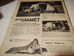 ANCIENNE PUBLICITE  VACANCE TENTE  ANDRE JAMET 1958 - Publicité