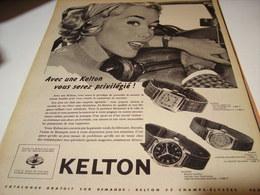 ANCIENNE PUBLICITE MONTRE KELTON PRIVILEGIE  1958 - Autres
