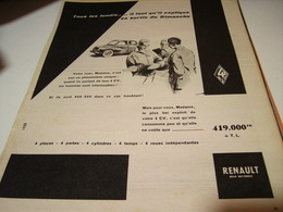 ANCIENNE PUBLICITE VOITURE 4 CV  RENAULT 1958 - Cars