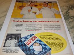 ANCIENNE PUBLICITE LES JUMEAUX SONT D ACCORD PATE  LUSTUCRU 1958 - Affiches