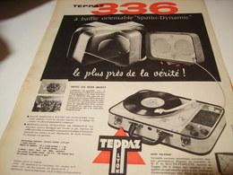 ANCIENNE AFFICHE  PUBLICITE ELECTROPHONE 336 DE TEPPAZ 1958 - Musique & Instruments