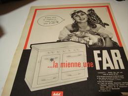 ANCIENNE PUBLICITE CUISINIERE FAR MODELE CONQUETE  1958 - Publicité