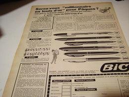 ANCIENNE PUBLICITE MILLIONNAIRE POUR PAQUES  STYLO  BIC 1958 - Publicités