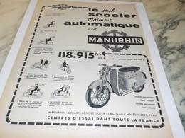 ANCIENNE PUBLICITE SCOOTER MANURHIN  1958 - Publicités