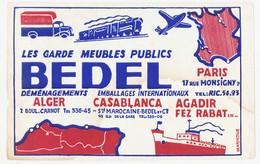 Buvard 21 X 13.3 Garde Meubles BEDEL Déménagements Emballages Paris Alger Casablanca Agadir Fez Rabat... - Transports