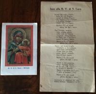 """Antico Santino Holy Card """" B.V. Di SAN LUCA """" + Foglietto Inno Alla B.V.S.Luca - Religione & Esoterismo"""