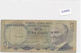 Billet - B3436 - Turquie  5 Francs  Türk Lirasi ( Catégorie,  Nature état ... Se Référer Au Double Scan) - Turquie