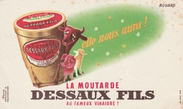 Rare Buvard Moutarde Dessaux Fils - Moutardes