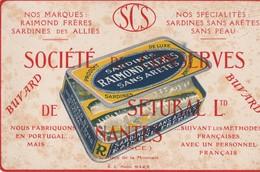 Rare Buvard Société De Conserves De Setubal Nantes Sardines Des Alliés - Alimentaire