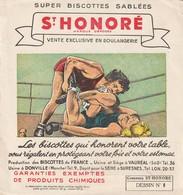 Rare Buvard Biscottes St Honoré Dessin N°8 La Lutte - Zwieback