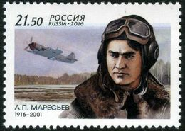 Russia 2016 - One 100th Anniv Birth Alexey Petrovich Maresye People Pilot Aviation Transport Hero Celebrations Stamp MNH - 1992-.... Federation