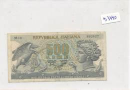 Billet - B3440 - Italie 500 Lire 1966  ( Catégorie,  Nature état ... Se Référer Au Double Scan) - [ 2] 1946-… : Républic