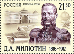 Russia 2016 - One 200th Anniv Birth Field Marshall General Dmitry Milyutin Famous People Military Celebrations Stamp MNH - 1992-.... Federation