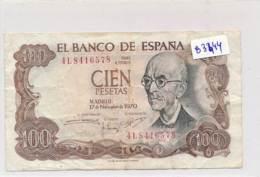 Billet - B3444 - Espagne -100 Pesetas 1970 ( Catégorie,  Nature état ... Se Référer Au Double Scan) - 100 Pesetas