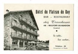 Etiquette (80 X 120 Mm) Hôtel Du Plateau Du Roy, Bar-Restaurant Chez Trauchessec - Rieutort De Randon (48) Plan Illustré - Etiquettes D'hotels