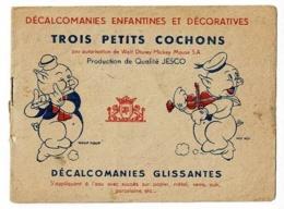 """Carnet Incomplet """"Trois Petis Cochons"""" Walt Disney - 4 Décalcomanies à L'intérieur """"Le Loup En Bergère, Nouf-nouf - Vieux Papiers"""