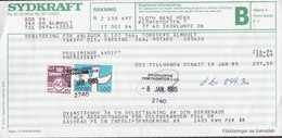Sweden SYDKRAFT Räkning Bill Postage Due SKOVLUNDE POSTKONTOR 1985 Card Karte Kinderzeichnung Bird Vogel Oiseau Stamp - Dänemark