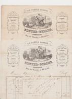"""2 Factures 1848-1849 """"Au Fidèle Berger"""" Gruyer -Girard , Confiseur , Rue Du Marché à Beaune - France"""