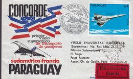 Paraguay 1st Flight Primer Vuelo Inaugural Concorde ASUNCION-RIO DE JANEIRO Eilsendung EXPRÉS Label 1976 Cover Letra - Paraguay