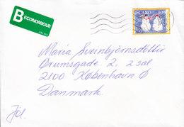 Iceland B-Economique Label REYKJAVIK 1995 Cover Brief Denmark Weihnachten Christmas Jul Noel Snowman Stamp - 1944-... Republique