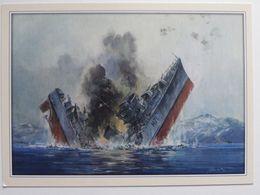 Sinking The Polish Destroyer ORP Grom At Narvik 1940 / Polish Postcard - Warships