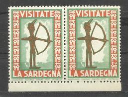 ARCHER- Venite In Sardegna Sardinia Italy - Tourism - LABEL , CINDERELLA , VIGNETTE - MNH** In Pair - Sculpture - Erinnophilie
