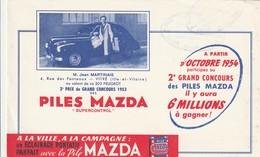 Rare Buvard Piles Mazda Gagnant 203 Peugeot 1954 Mr Martinais De Vitré - Autres