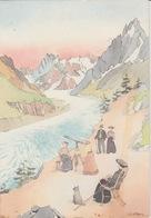 18/12/246  -CHAMONIX - MONT-BLANC  (74) C. P. M. DESSIN  Signé  ? - Cachet Bicentenaire 1ère Ascension - Autres Illustrateurs