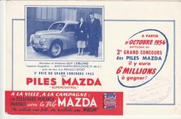 Rare Buvard Piles Mazda Gagnant 4cv Renault-sport  1954 Mr Et Mme Leblond St Martin De Boulogne - Autres