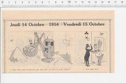 2 Scans 1954 Humour Homme Sandwich Publicité Imperméable Genre Parapluie Engin De Chantier Pelleteuse-grue 223XC - Vieux Papiers