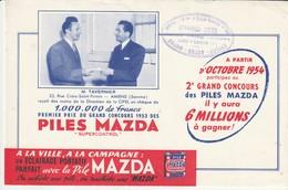Rare Buvard Piles Mazda Concours M.Tavernier D'Amiens Gagnant Des 1.000.000 De Francs 1954 - Autres