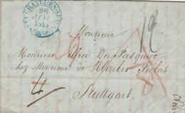 Suisse Lettre Taxée Neuchatel En Suisse Pour L'Allemagne 1845 - Schweiz