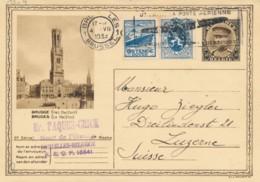 PU 35 Op Entier 5de Reeks Brugge - Verzonden 4.VII 1933 Naar Luzern - Entiers Postaux