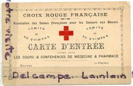- Militaria - Croix Rouge Française, Carte D'Entrée Vierge, Association Des Dames Française, TBE,  Scans. - Documents
