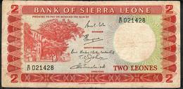 SIERRA LEONE P2b 2 Leones 1967 Signature 2   # B/27    VF No P.h. - Sierra Leona