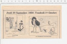 2 Scans 1954 Humour Pointeuse (pas Usine) Chasse Autruche Illettrisme Verres Verrerie Réverbère De Rue Ivrogne 223XC - Vieux Papiers