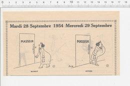 2 Scans 1954 Humour Métier Masseur Massage Avaleur De Sabres Légume Asperge Chasse Sous-marine Fusil-harpon Poisson223XC - Documentos Antiguos