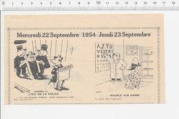 2 Scans 1954 Humour Identification Police Métier Opticien Tableau Croisière Naufrage Paquebot Oiseau Hirondelle 223XC - Vieux Papiers