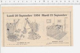 2 Scans 1954 Humour Grue Pelleteuse Jeu De Dés 421 Femme Battue Suicide Pendaison Corde Cordage 223XC - Vieux Papiers